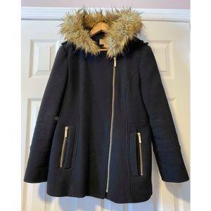 Michael Kors Asymmetrical Coat w/ Faux Fur Hood